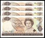New Zealand - $1 - Hardie 'Type 2' - AAL000074 - AAL000077 - Unc