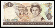 New Zealand - $1 - Hardie 'Type 2' - AAL 000801 - Almost Uncirculated