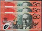 Australia - 2008 - $20 JC08 - 3 Consecutive Notes - Last Prefix - Uncirculated