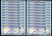 Fiji - $20 - 20 Consecutive Notes - D342421 - D342440 - P95a - aUnc