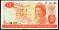 New Zealand - $5 Star Note - Knight - 991 060931* - gEF