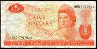New Zealand - $5 Star Note - Knight - 990 979702* - Fine