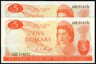 New Zealand - $5 Pair - Knight - 121 574031 - 121 574032 - Unc