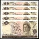 New Zealand - $1 - 5 Consecutive - Knight - S14 563666-70 - Unc