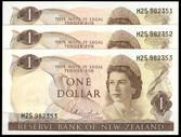 New Zealand - $1 - Hardie 'Type 1' - 3 Notes - H25 982351-53 - Unc