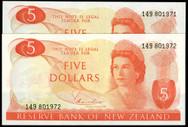 New Zealand - $5 - Hardie 'Type 1' - Consecutive Pair - 149 801971-72 - Unc