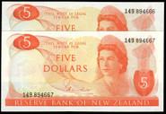 New Zealand - $5 - Hardie 'Type 1' - Consecutive Pair - 149 894666-67 - Unc