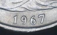 New Zealand - 1967 - Fifty Cents - Error - Dot Above 1 - KM37