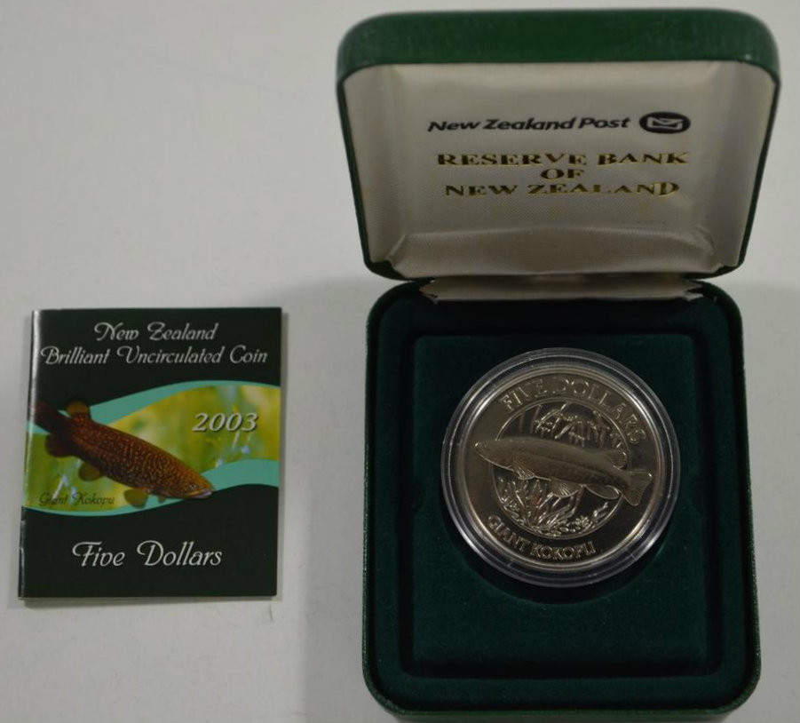 2003 New Zealand Giant Kokopu or Giant Trout Silver Proof Coin Set