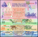 Cook Islands - $3 $10 $20 $50 Note Set - First Prefix - Serial #48 - Uncirculated