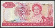 New Zealand - $100 - Hardie 'Type 2' - Serial #19 - First Prefix - YAA 000019 - Unc