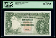 New Zealand - 10 Pounds - Final Prefix - Fleming - AS499868 - PCGS 65PPQ