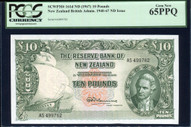 New Zealand - 10 Pounds - Final Prefix - Fleming - AS499762 - PCGS 65PPQ