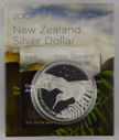 New Zealand - 2007 - Silver Dollar Proof Coin - Great Spotted Kiwi