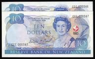 New Zealand - 1990 - $10 Commemorative Note Pair - CCC000346-347 - aUnc