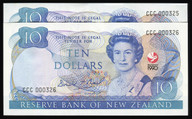 New Zealand - 1990 - $10 Commemorative Note Pair - CCC000325-326 - aUnc