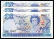 New Zealand - 1990 - $10 Commemorative Note Trio - CCC000405-407 - aUnc