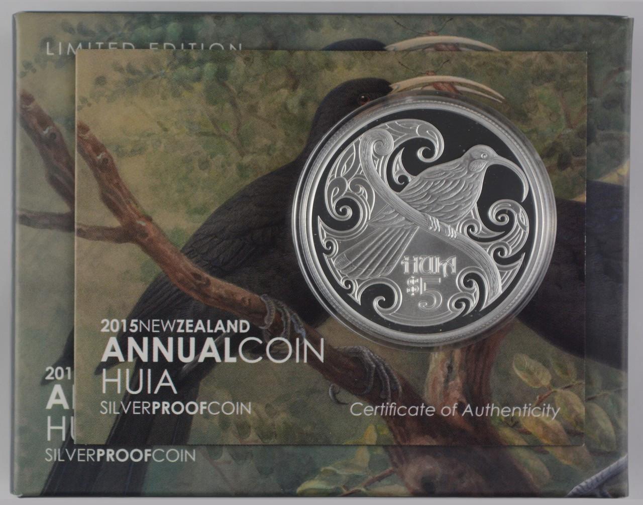 2015 1 OZ Huia Bird Silver $5 Dollars Proof Coin New Zealand