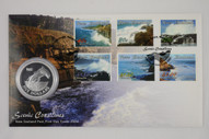 New Zealand - 2002 - $5 Silver Proof Coin & Stamp Cover - Hector's Dolphin