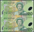 New Zealand - 1999 - $20 Uncut Polymer Pair - AA Prefix - Presentation Folder