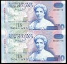 New Zealand - 1993 - $10 Uncut Pair - Paper Notes - AA Prefix