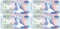 New Zealand - 1992 - $10 Uncut Block Of 4 - Paper Notes - AA Prefix