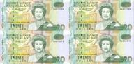 New Zealand - 1992 - $20 Uncut Block Of 4 - Paper Notes - AA Prefix