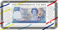 New Zealand - 1990 - $10 Commemorative Note In Folder - CCC Prefix - CCC000097