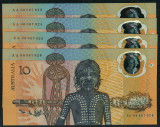 Australia - 1988 - $10 Polymer 4 Consecutive Notes - AA06 067823 - AA06 067826