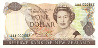 New Zealand - $1 Banknote - First Prefix - Hardie 'Type 2' - AAA000682