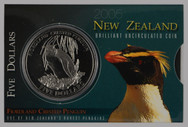 New Zealand - 2005 - $5 Uncirculated Coin - Fiordland Penguin