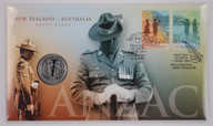 New Zealand - 2015 - 50c Uncirculated Coin & Stamp Cover - ANZAC