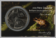 New Zealand - 2008 -  Brilliant Uncirculated $5 Coin - Hamilton's Frog
