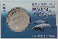 New Zealand - 2010 -  Brilliant Uncirculated $5 Coin - Maui's Dolphin