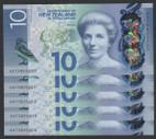 New Zealand - $10 - 5 Consecutive - First Prefix - AA15825200 - AA15825204