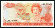 New Zealand - $5 Banknote - Russell - Wet Ink Transfer - Major Error