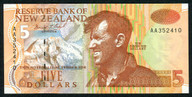 New Zealand - $5 Note - Brash - 'Type 2' - AA First Prefix - AA352410