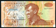 New Zealand - $5 Note - Brash - 'Type 3' - AX Prefix - AX710311