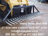 "Universal Skid steer Landscape Rock Rake 21 Spears 84"" wide"