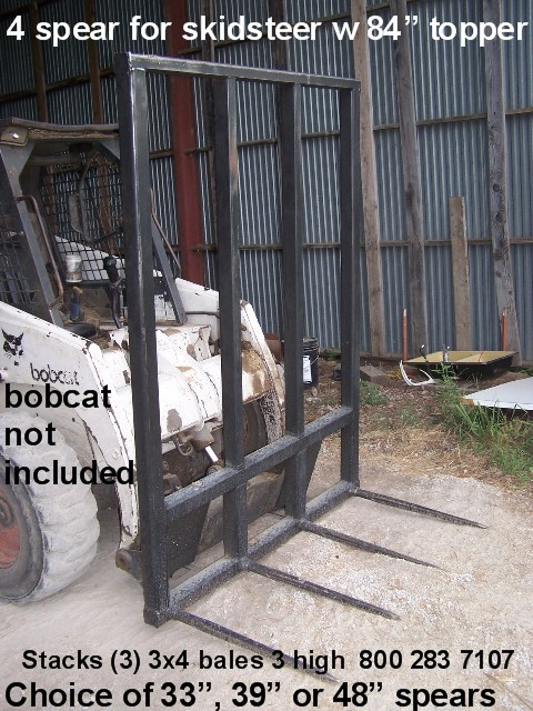 "Hay Bale Mover Skid steer 4-48"" spears 5' wide 81"" tall, hay spear for skid steer, loader hay spear, hay spears.  Great for stacking big square bales 3 high at one time. Each spear is rated at 3000# at 30"" load center"