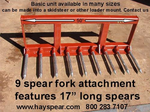 9 Spear Landscape Rake, 6' wide choice of attaching brackets