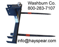"Hay Bale Stacker 3 Point Category 2 & 3N w/ ball, 2-48"", 3 point fork, 3 point bale spear, 3 pt bale spear mc"