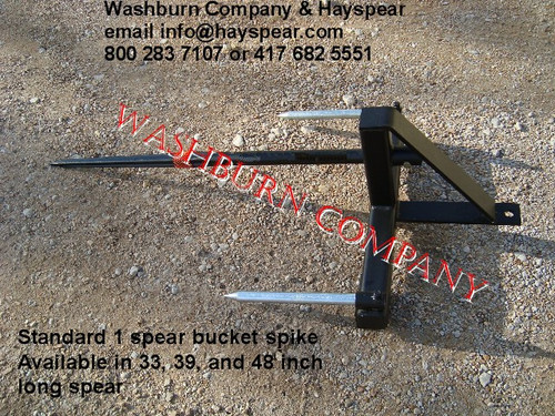 """Hay Bale Mover Front Mount Bucket Bale 1 Spear, 48"""" Long, hay bale fork for bucket, hay bale spear loader, hay bale bucket spear loader, hay bale spear for bucket, hay bale fork, round bale spear"""
