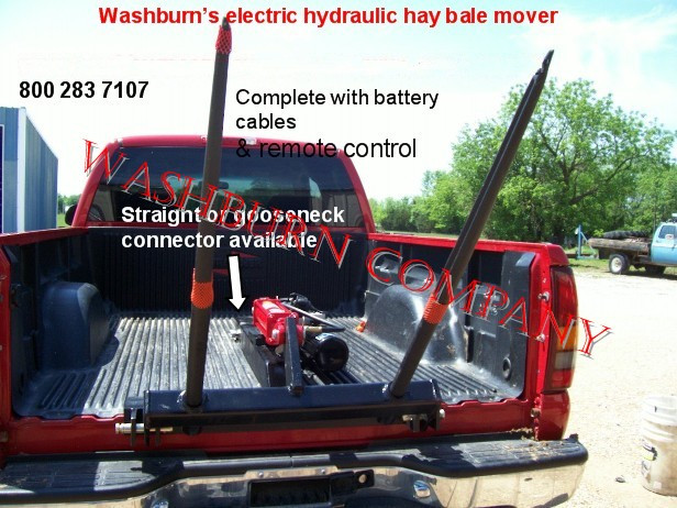 Pickup Truck 12 Volt Hydraulic Hay Bale Spear Straight Neck on
