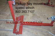 "2 Spear Pickup Truck Hand Winch Hay Bale Mover, 48"" Spears 2 speed winch for easy bale lifting"