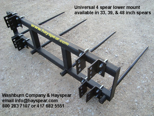 "Universal Hay Bale Stacker 3 Point 4 Spear 39"", 6' Frame, 3 point hay bale spear, Fits front end tractor loader or 3 point hitch is 6' wide Can be mounted with spears on top or bottom Comes with (4) 39 inch spears."