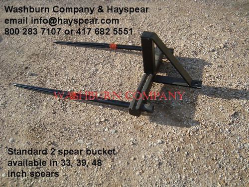 """Hay Bale Mover Stacker Bucket Mounted 2 Spear w/ 48"""" Spears Each hay bale spear is rated at 3000"""" @ 30"""" load center"""