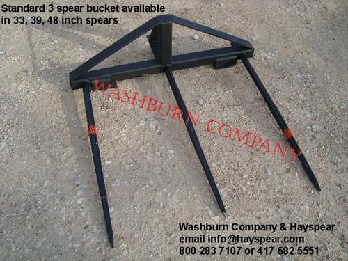 """Hay Bale Stacker Bucket Mounted 3 Spear w/ 48"""" Spears,hay spear for sale,"""