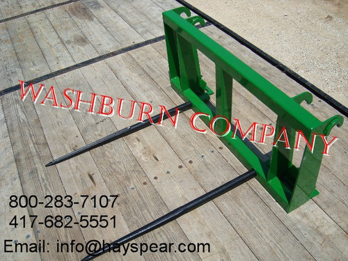 """Hay Spear fits John Deere 840, 2 Spears 48"""" Long Spikes Individual hay spears are rated at 3000 lbs. at 30"""" load center"""