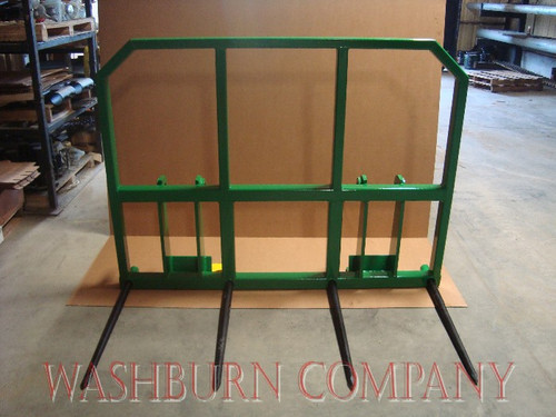 "Hay Stacker for John Deere 840 w/ 4 Spear 48"" tines w/Topper Individual hay spears are rated at 3000 lbs. at 30"" load center"